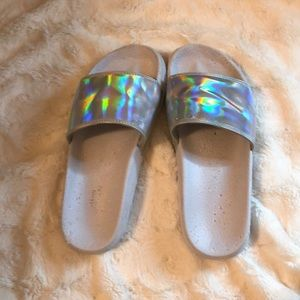 URBAN OUTFITTERS HOLOGRAPHIC SLIP ONS